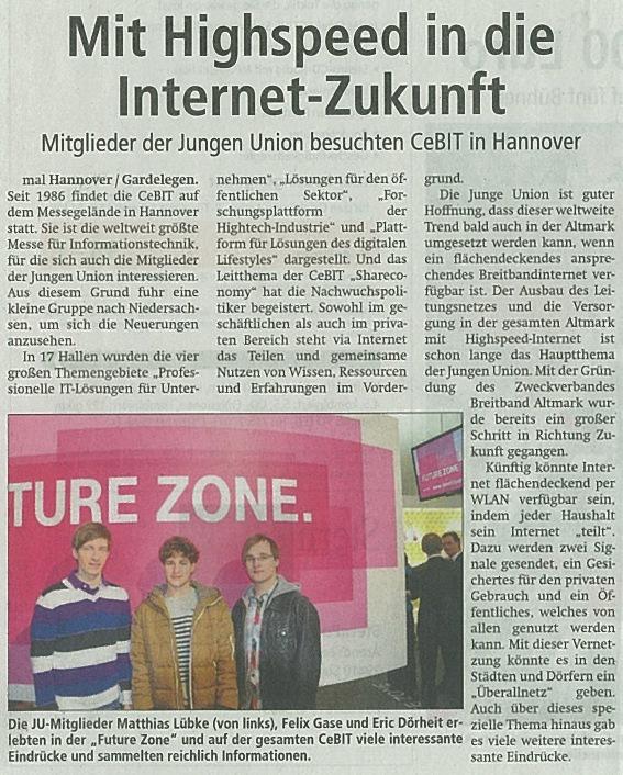Mit Highspeed in die Zukunft - VST 08.03.2013