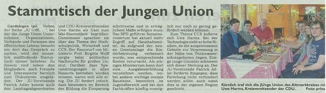 Stammtisch der Jungen Union - Generalanzeiger 22.05.13